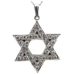 "Diamond Platinum ""Star of David"" Pendant Necklace"