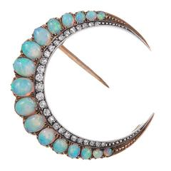 Edwardian Opal Diamond Gold Platinum Crescent Moon Pin