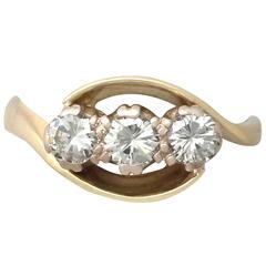 0.83 ct Diamond and 18K Yellow Gold Twist Trilogy Ring