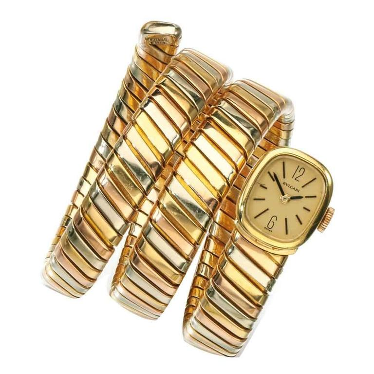 Bulgari Tricolor Gold Lady's Tubogas Wristwatch For Sale