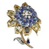 1945 Cartier London Exquisite Multicolor Sapphire Diamond Brooch