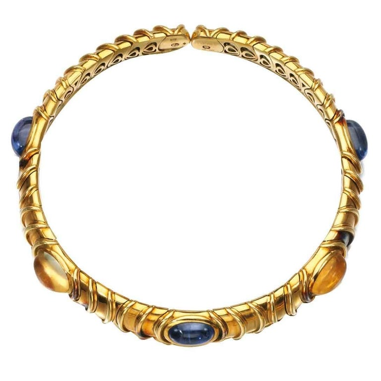 Marina B Blue and Yellow Sapphire Gold Choker  For Sale