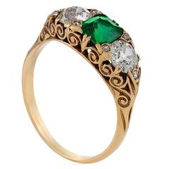 English Antique Emerald and Diamond Three-Stone Ring