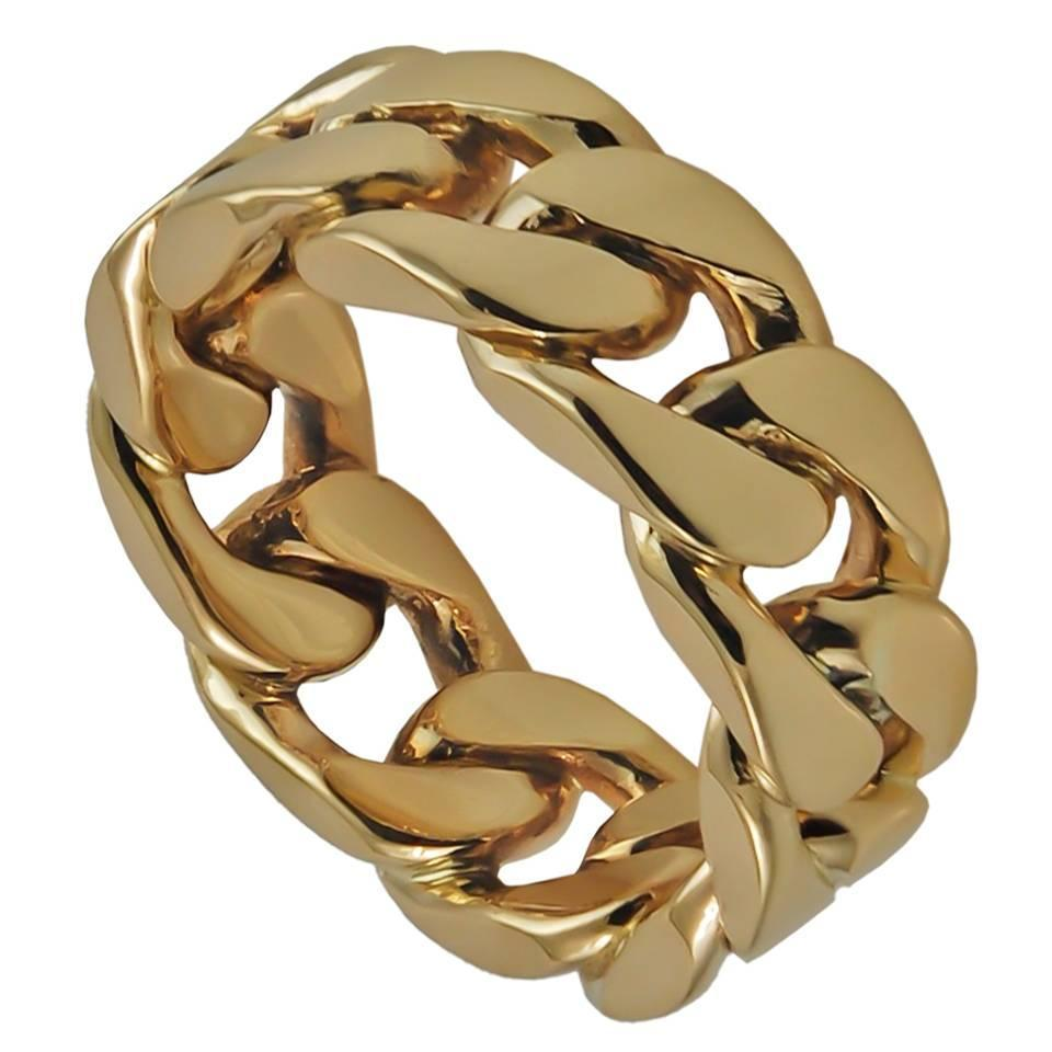 and co heavy gold link ring for sale at 1stdibs