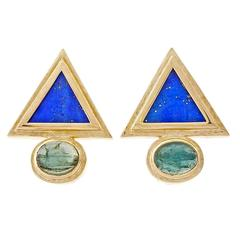 Lapis Triangle Tourmaline Gold Earrings