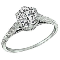 Edwardian 0.96 Carat Diamond Platinum Engagement Ring