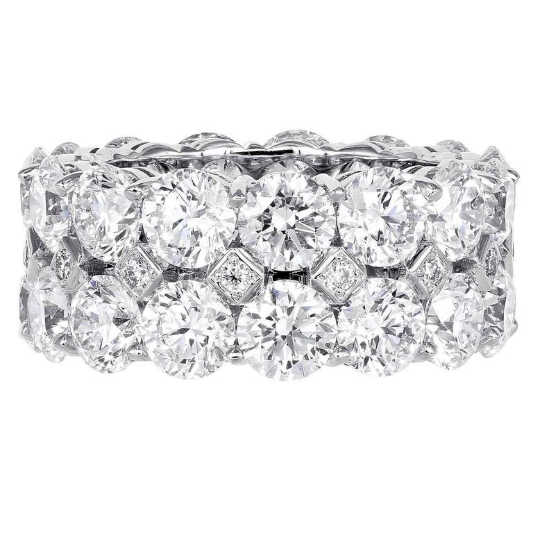 12.13 Carat Round Brilliant Cut Diamond Gold Band Ring