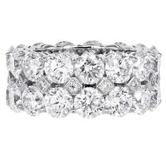 12.13 Carat Round Brilliant Cut Diamond Gold Band Ring