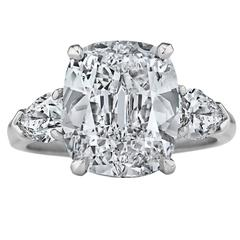 Graff Internally Flawless D Color 5.01 Carat Cushion Cut Diamond  Ring
