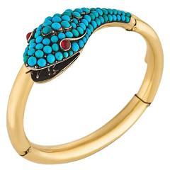 Victorian Turquoise Garnet Silver Gold Wrap Snake Bracelet