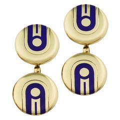 Cartier Art Deco Blue Enamel Gold Cufflinks