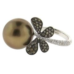 Chantecler South Sea Pearl Diamond Gold Butterfly Ring