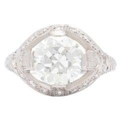 Art Deco 2.78 Carat GIA Cert Round Transitional Cut Diamond Platinum Ring