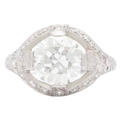 Art Deco 2.78 Carat GIA Cert Round Transitional Cut Diamond Platinum Ring