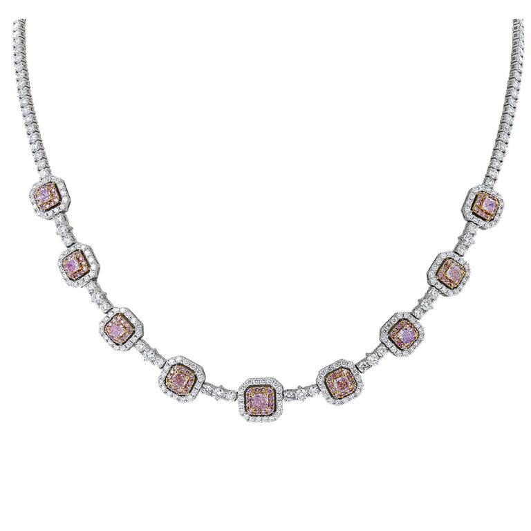 10.45 Carat Natural Pink Diamond Two-Color Gold Necklace