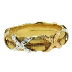 Buccellati Tricolor Gold X Band Ring
