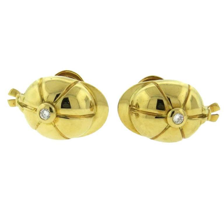 Piaget Diamond Gold Polo Cap Cufflinks