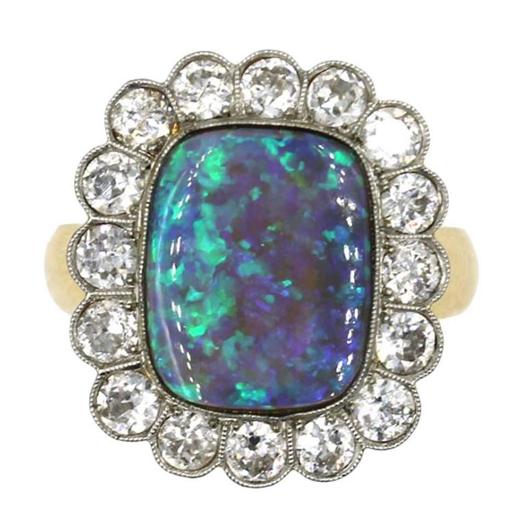 Black Opal Diamond Gold Ring For Sale