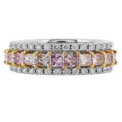 1.42 Carat Natural Pink Diamond Two Color Gold Band Ring