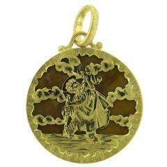 Buccellati Hardstone Gold Medallion Pendant