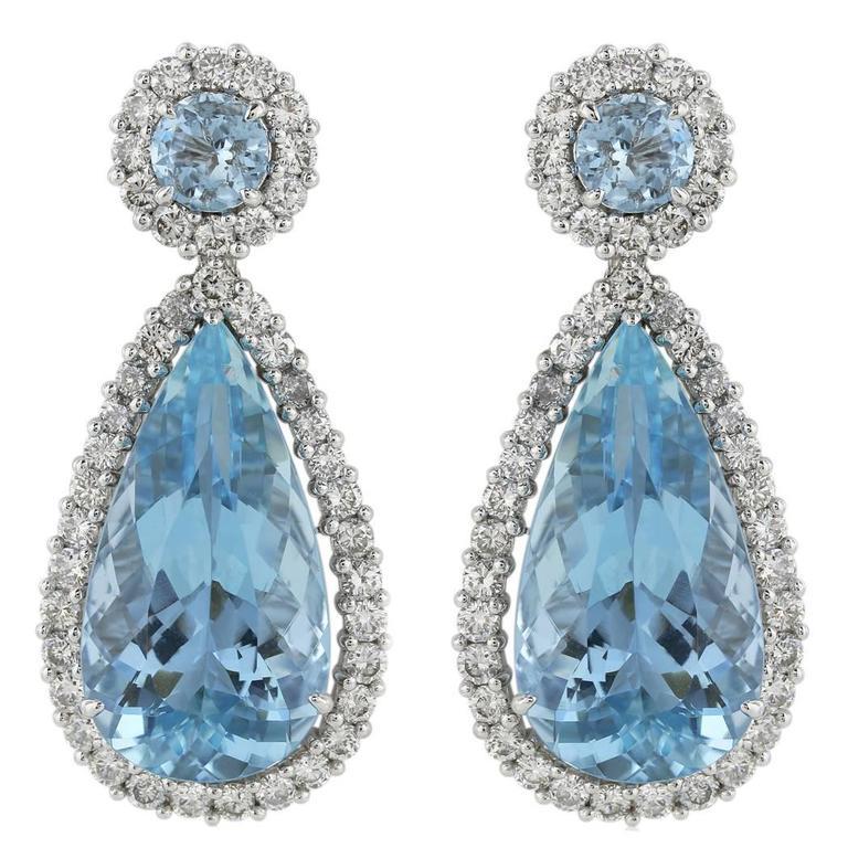 22 Carat Aquamarines Diamond Platinum Drop Earrings