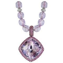 Rose de France Amethyst Rhodolite Garnet Textured Royal Necklace by Alex Soldier