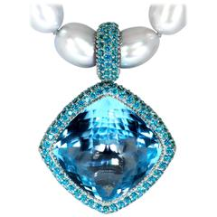 Pearl, Blue & Paraiba Topaz Gold Textured Royal Necklace by Alex Soldier