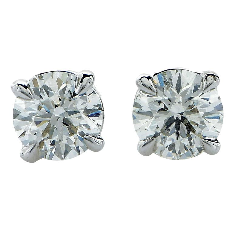 1.42 Carat Diamond Gold Solitaire Stud Earrings