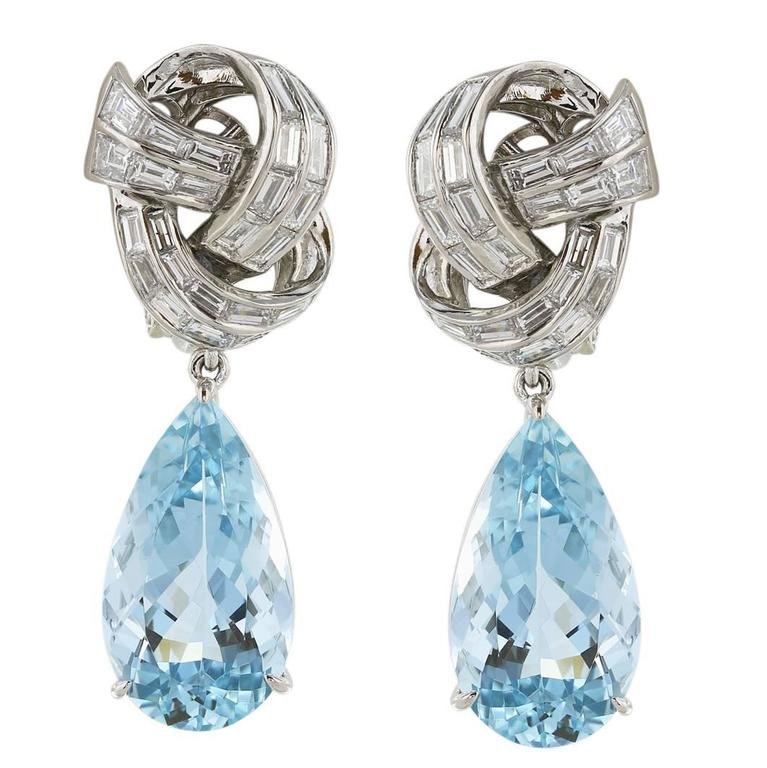 Aquamarine Diamond Platinum Pear Shaped Drop Earrings