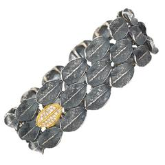 John Iversen Diamond Silver Gold Fall River Bracelet