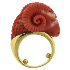 Carved Coral Ram's Head Gold Ring