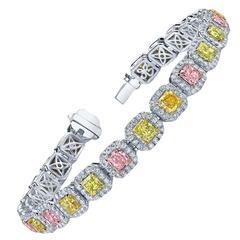 Diamond Platinum Fancy Color Bracelet