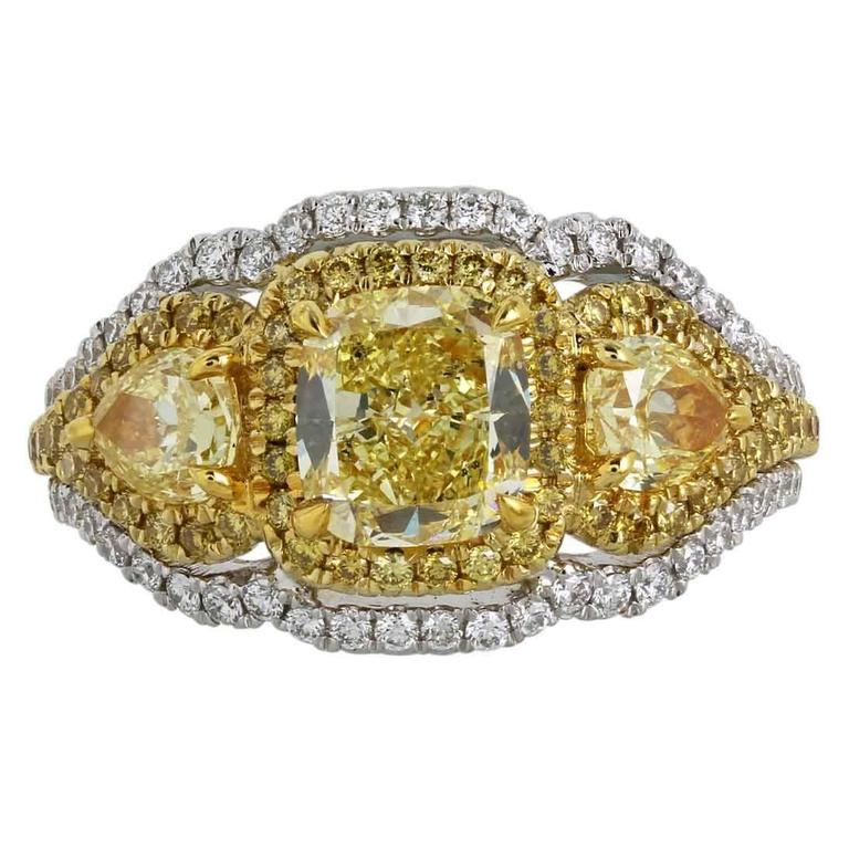 c818ae40c8 Canary and White Diamonds Two Color Gold Three-Stone Ring For Sale ...