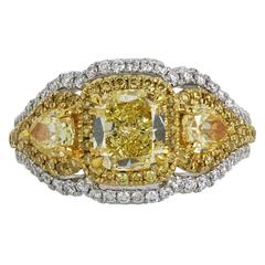 Canary and White Diamonds Two Color Gold Three-Stone Ring