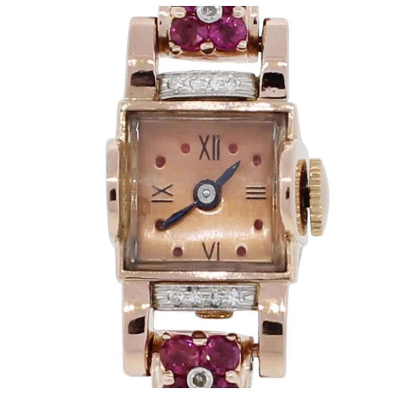 Lady's Rose Gold Diamond Ruby Wristwatch