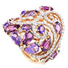 Casato Tourmaline Amethyst Diamond Gold Ring