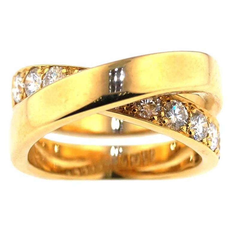 """Cartier """"Paris Nouvelle Vague"""" Crossover Diamond Gold Ring"""