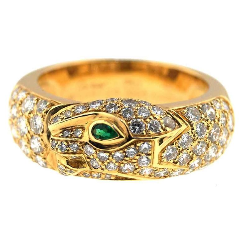 "Cartier ""Panthere"" Pave Diamond Gold Ring For Sale"