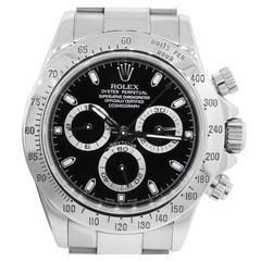 Rolex Stainless Steel Daytona Black Cosmograph Dial Automatic Wristwatch