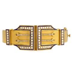 Victorian Blue Enamel Half-Pearl Diamond Gold Buckle Motif Bracelet