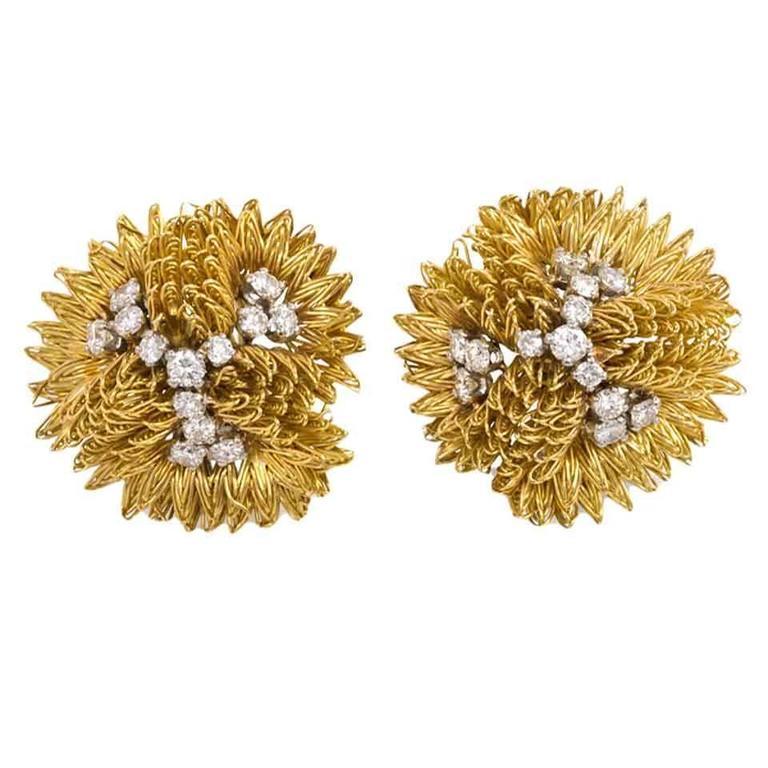 1960s Cartier Diamond Gold Clip Earrings