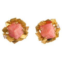 Alan Gard Rhodochrosite Gold Clip On Earrings