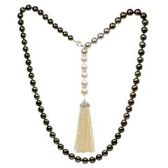 Tahitian South Sea Pearl Diamond Gold Sautoir Necklace