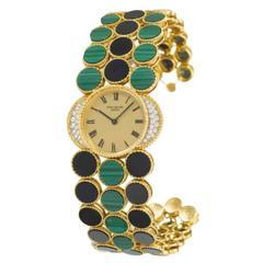 Patek Philippe Yellow Gold Diamond Malachite Onyx Bracelet Wristwatch
