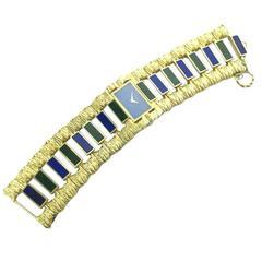 Piaget Lady's Yellow Gold Lapis Lazuli Nephrite Jade Large Bracelet Wristwatch