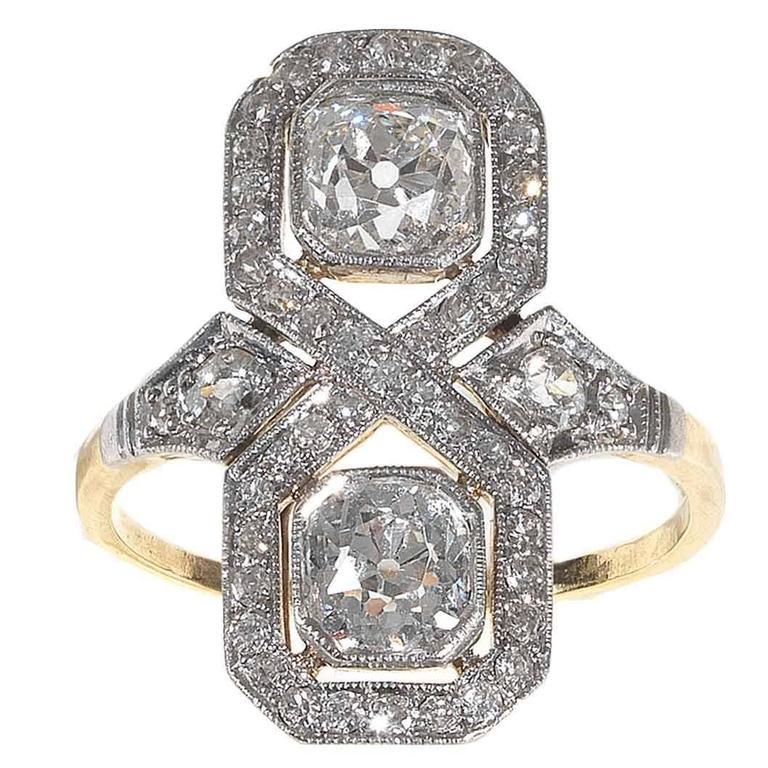 Art Deco Diamond Gold Platinum Engagement Ring