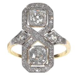 Art Deco Diamond Gold Platinum Engagement Ring