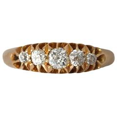 1870s Diamond and Yellow Gold Cocktail Ring