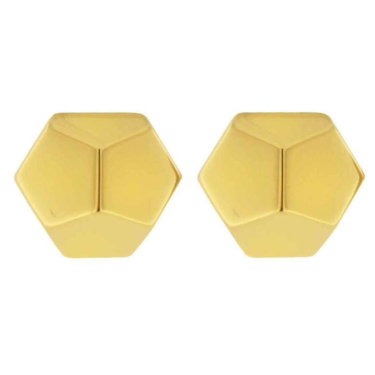 Jona Yellow Gold Prism Stud Earrings For Sale