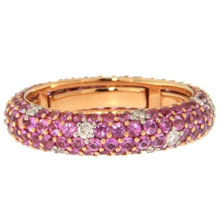 Jona Pink Sapphire Diamond Pav 233 Gold Eternity Band Ring